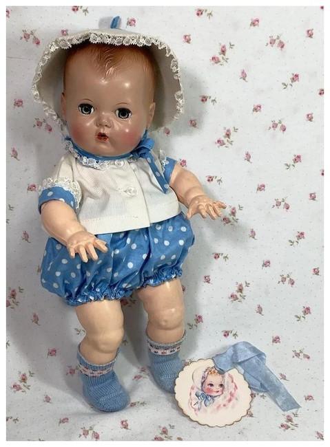 """Vintage 1950's Blue DOTS Sunsuit Sun Suit Set for 11.5"""" Tiny Tears Baby"""