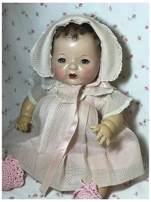"""Vintage 1930's Effanbee Factory Original 15"""" Dy-Dee Swiss Dot Dress Set"""