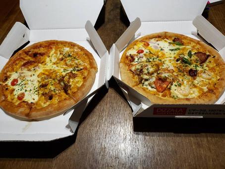 差し入れピザの夕食♪