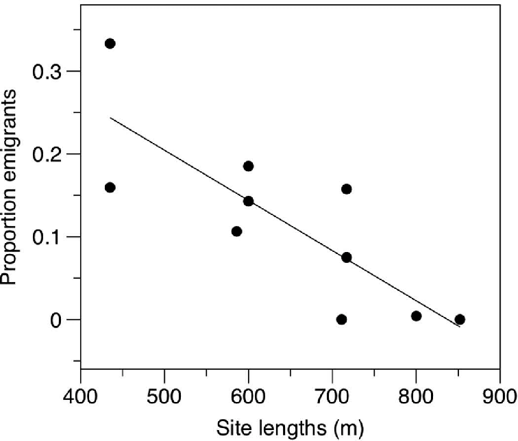 FIGURE 3. Proportion of emigrating steelhead in relation to site length from spring samples. Trend line represents the relationship between emigration and site length used in bias simulations.