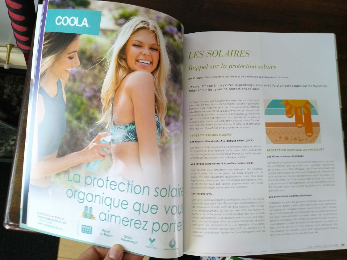 advertising of COOLA in Quebec