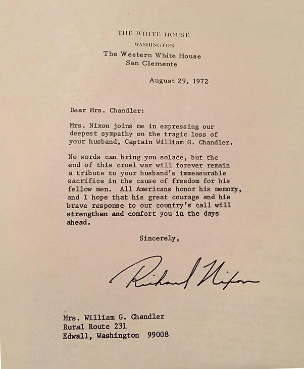 President Nixon letter Chandler aug 29 1