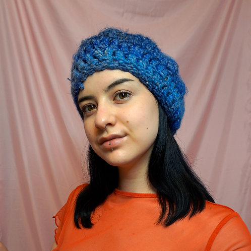 Blue Chunky Crochet Beret