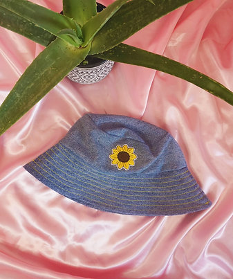 Denim Handmade Recycled Sunflower Bucket Hat