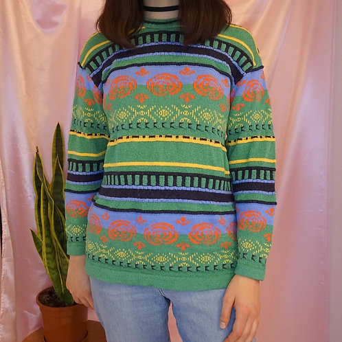 Vintage Multicoloured Long Sleeve Knitted Sweater