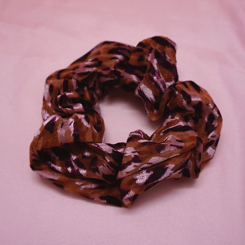 Handmade Stretchy Pink Leopard Print Scrunchie