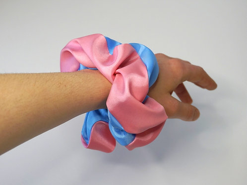 Pink & Blue XL Satin Scrunchie
