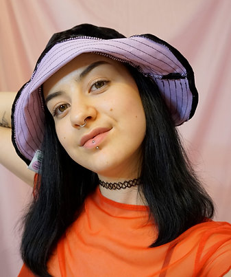 Black Crushed Velvet & Pink Upcycled Bucket Hat