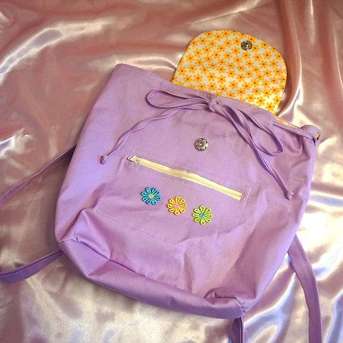 Lilac & Daisy Canvas Backpack