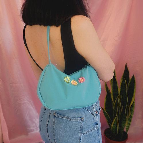 Turquoise Mini Y2K Style Baguette Handbag