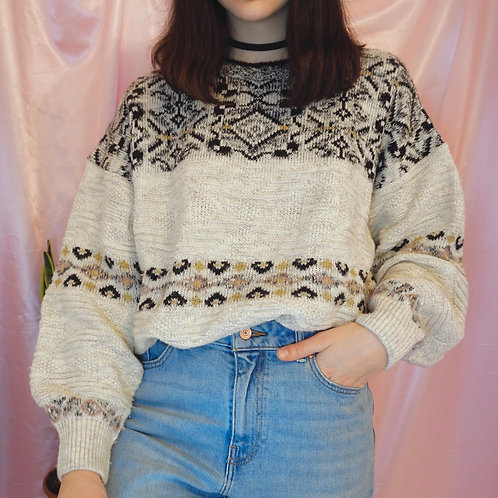 Large Vintage Cream Knitted Sweater