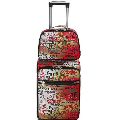Graffiti Luggage Set Red