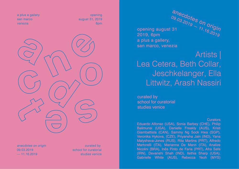 Invitation for art show Anecdotes On Origin at AplusA Gallery, Venice