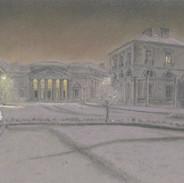 Soir de neige devant l'ancien Palais de Justice
