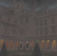 Effet nocturne sur le jardin du cloître de l'Abbaye aux Hommes