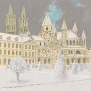 Jour de neige sur l'Abbaye aux Hommes