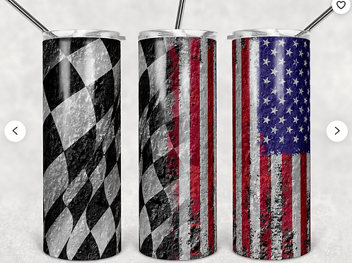 American and Checkered Flag Stainless Steel Tumbler 20 oz