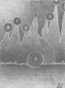 Planetensterben; 1995; Graphit; imachd.