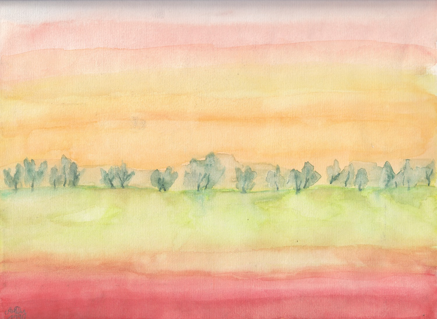 Landschaft in rot; 1990; Aquarell; imachd._edited