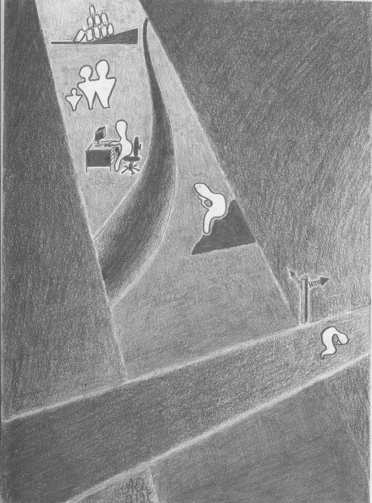 labora oder ora, Wegentscheidung  1; 1995; Graphit; imachd.