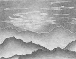 Gebirgslandschaft; 1993; Graphit; imachd