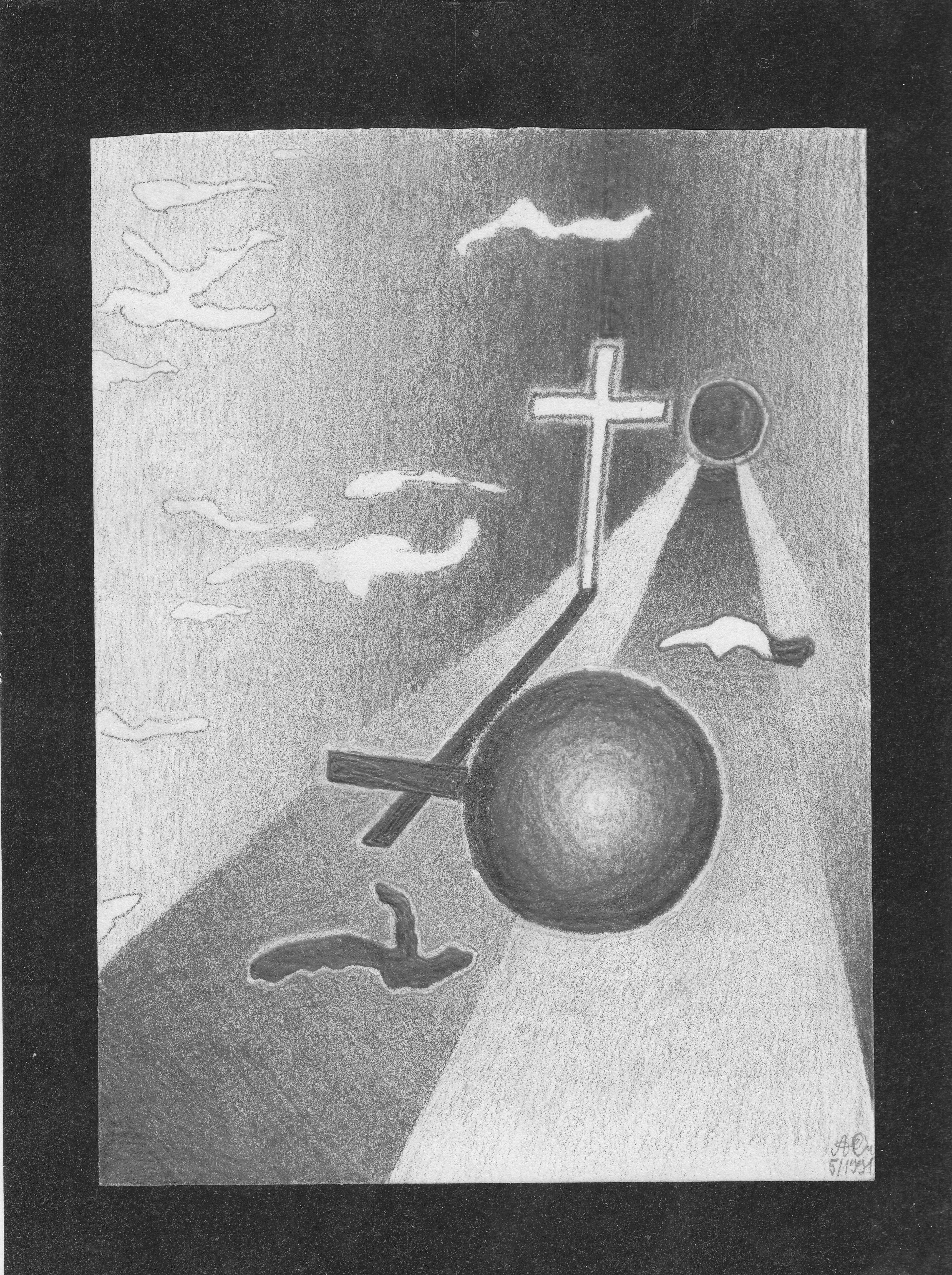 Schattenkreuz; 1991; Graphit; imachd.