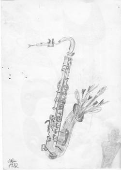 Saxophon; 1983; Bleistift; imachd.