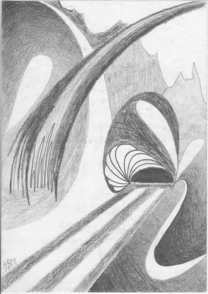 Landschaft mit Schnecke; 1993; Graphit; imachd.