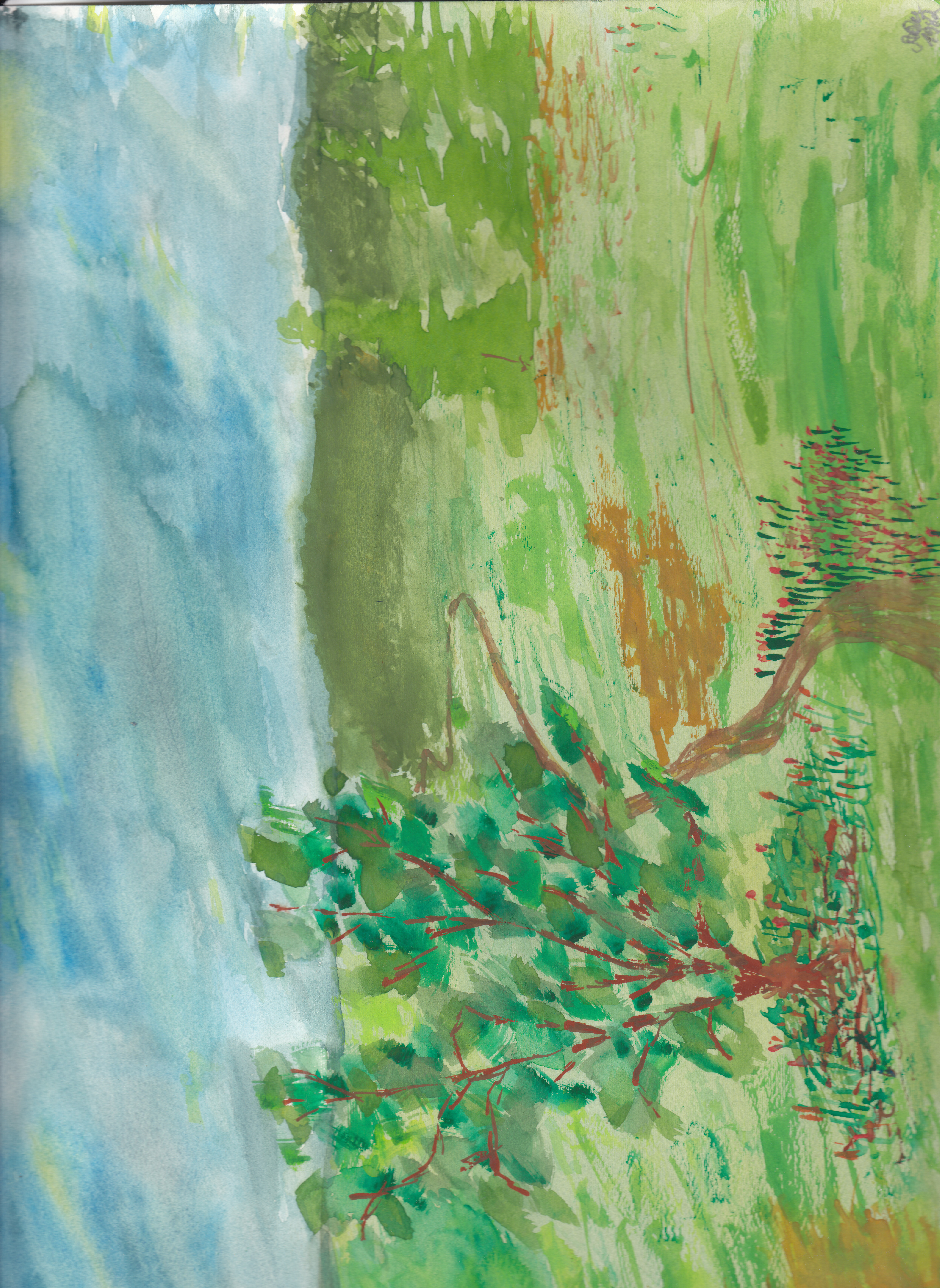 Landschaft 1; Aquarell; 1982; imachd.
