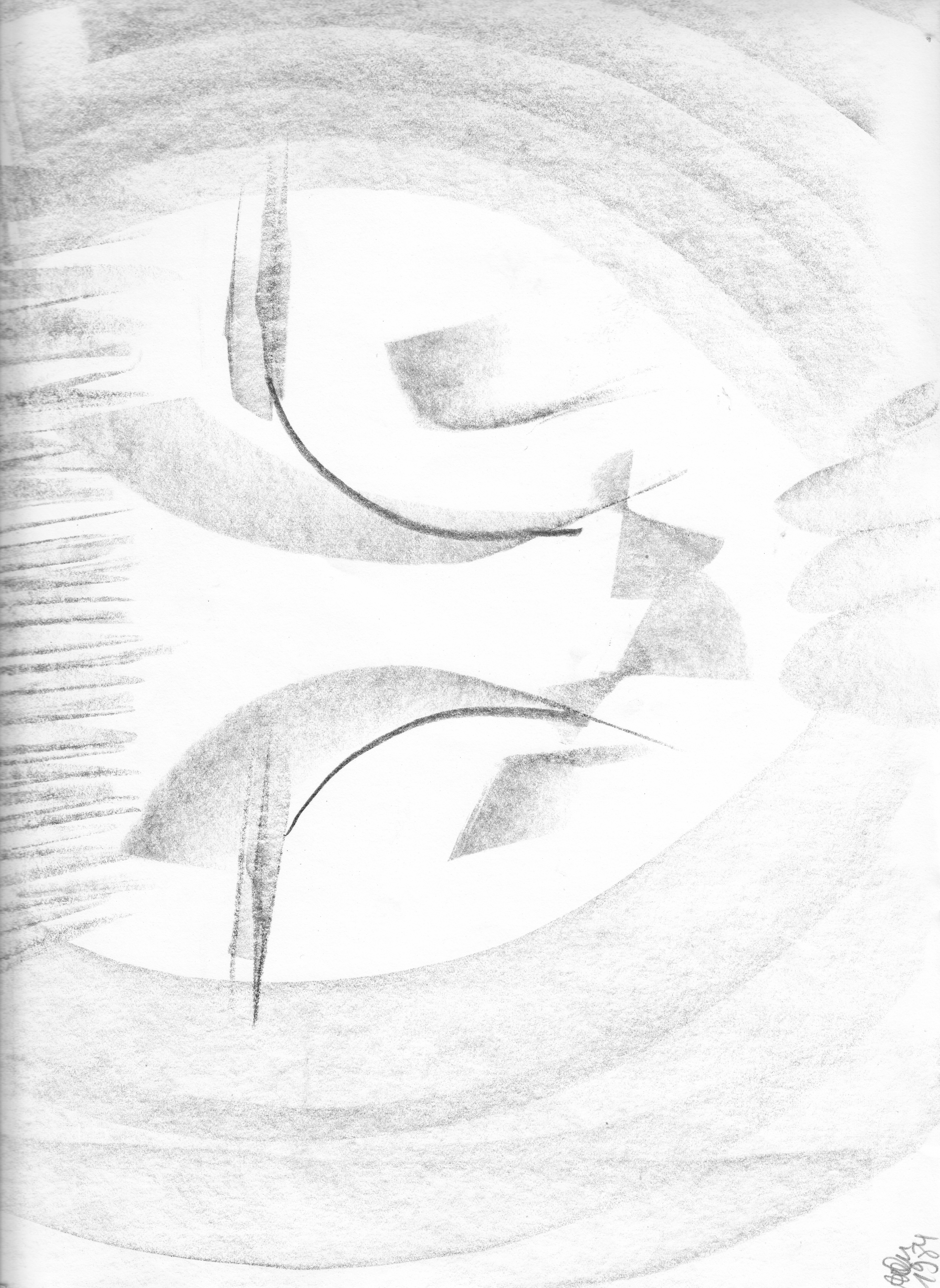 Kohle; abstraktes Gesicht mit Hand vor dem Mund; 1984; imachd.