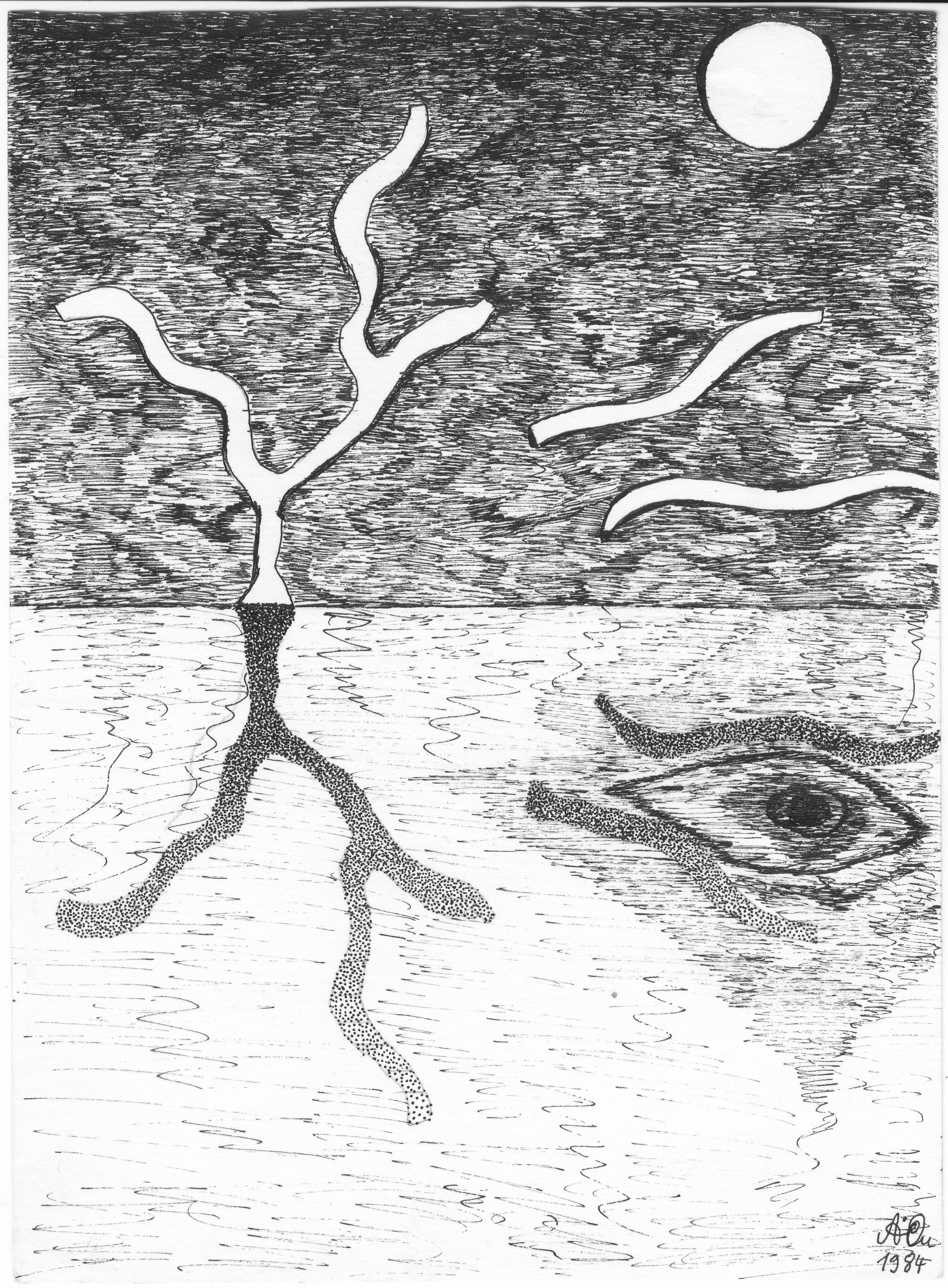 Kahle Welt mit Auge; 1984; Tusche; imachd.