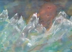 Bergsonne; Aquarell; 1982; imachd.