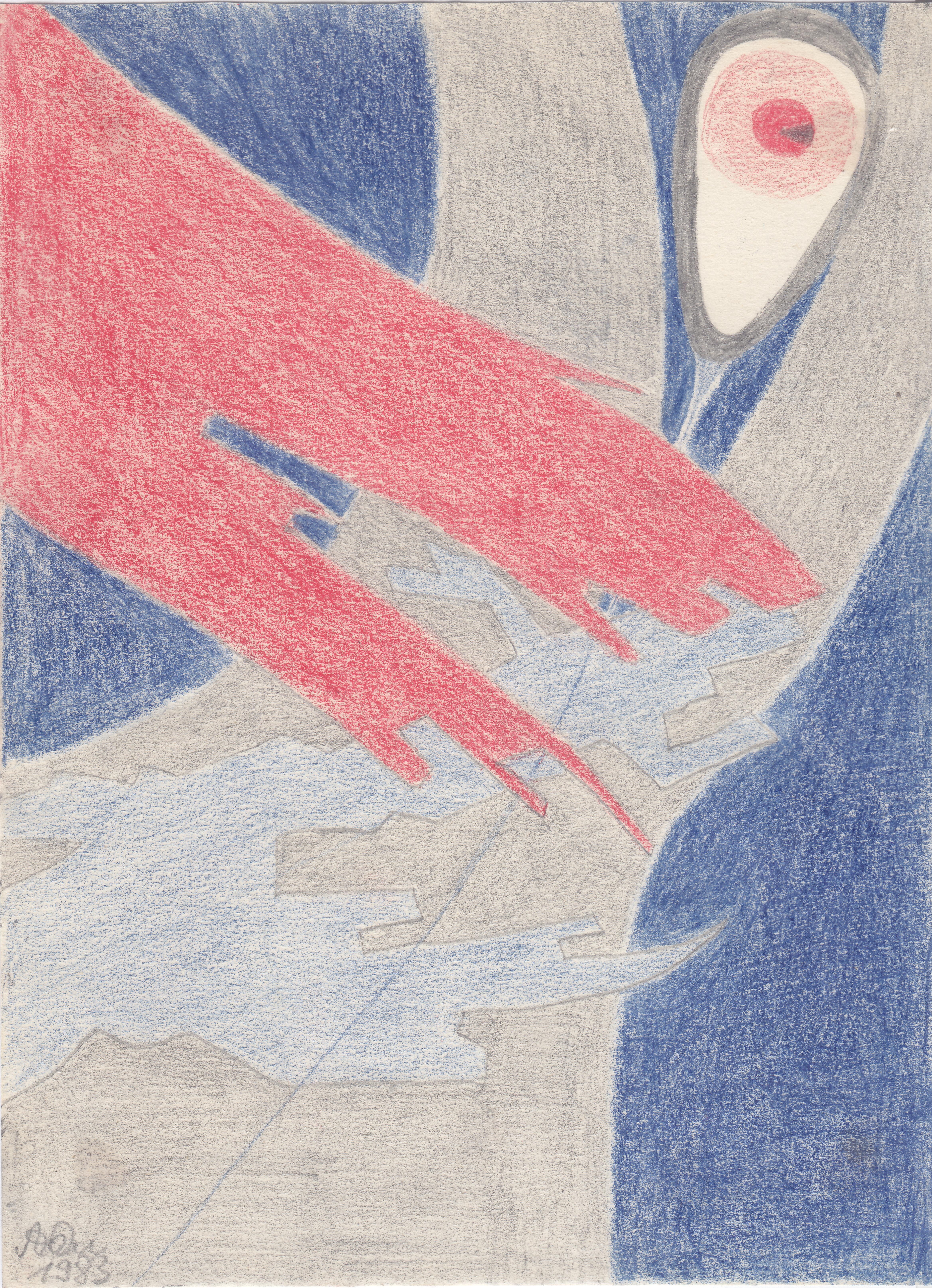 Auge am Tropf, bunt; 1983; Bleistift; imachd.