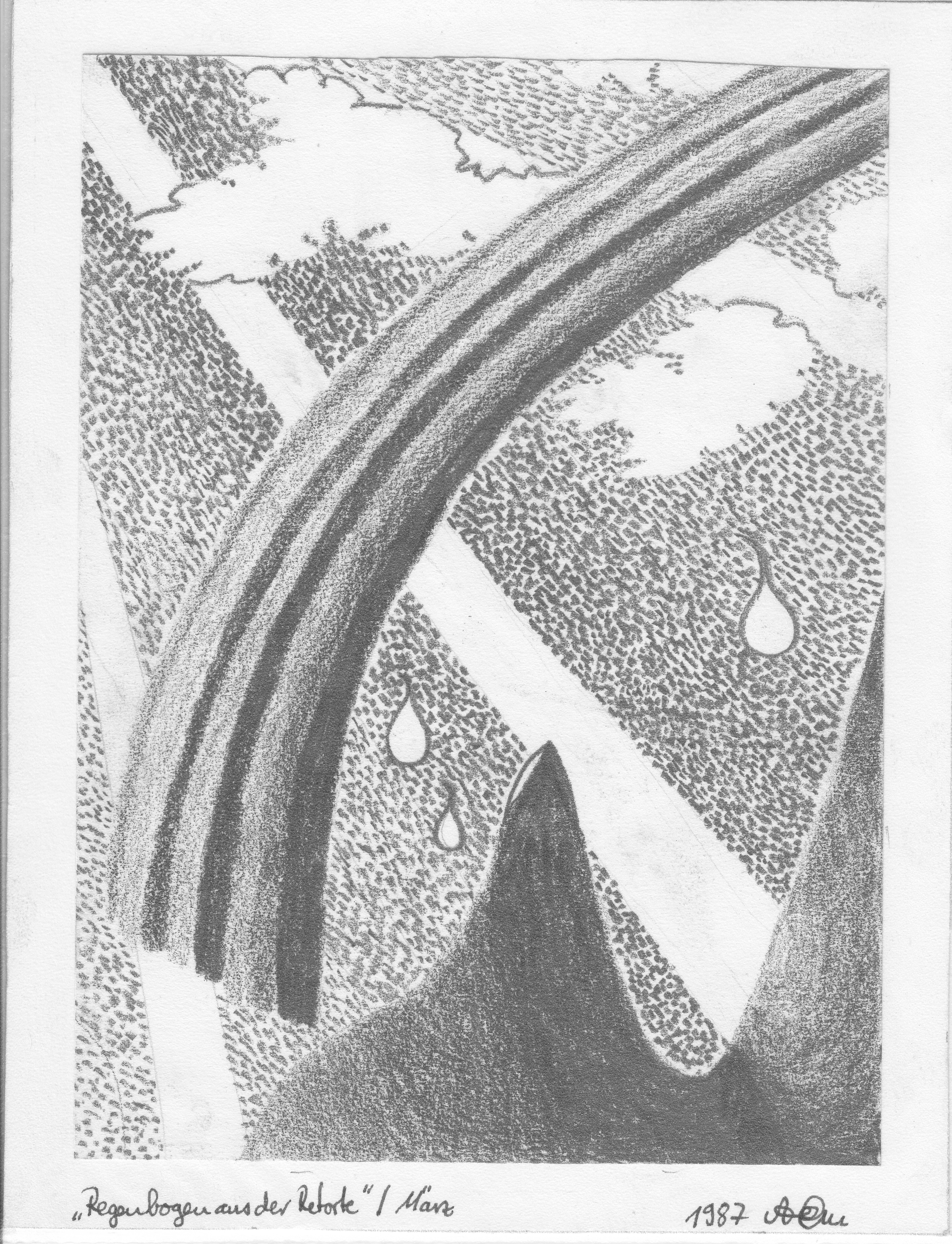Regenbogen aus der Retorte; 1987; Graphit; imachd.