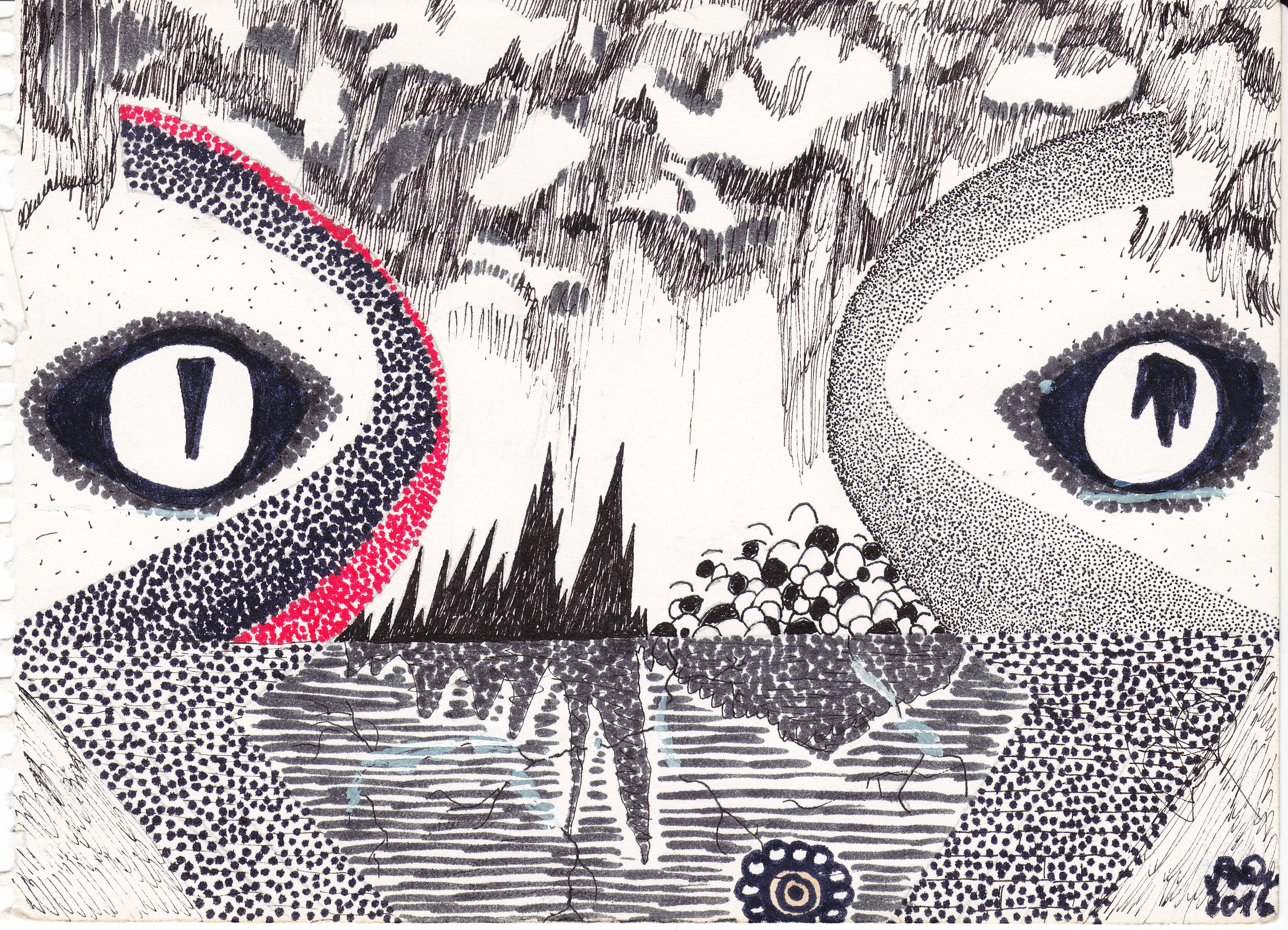 Das Augenpaar; 2016; Tusche, Filzstift; imachd.