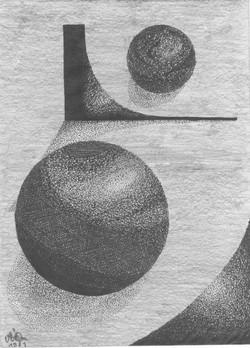 Planet im Spiegeluniverum; 1981; Tusche und Graphit; imachd.