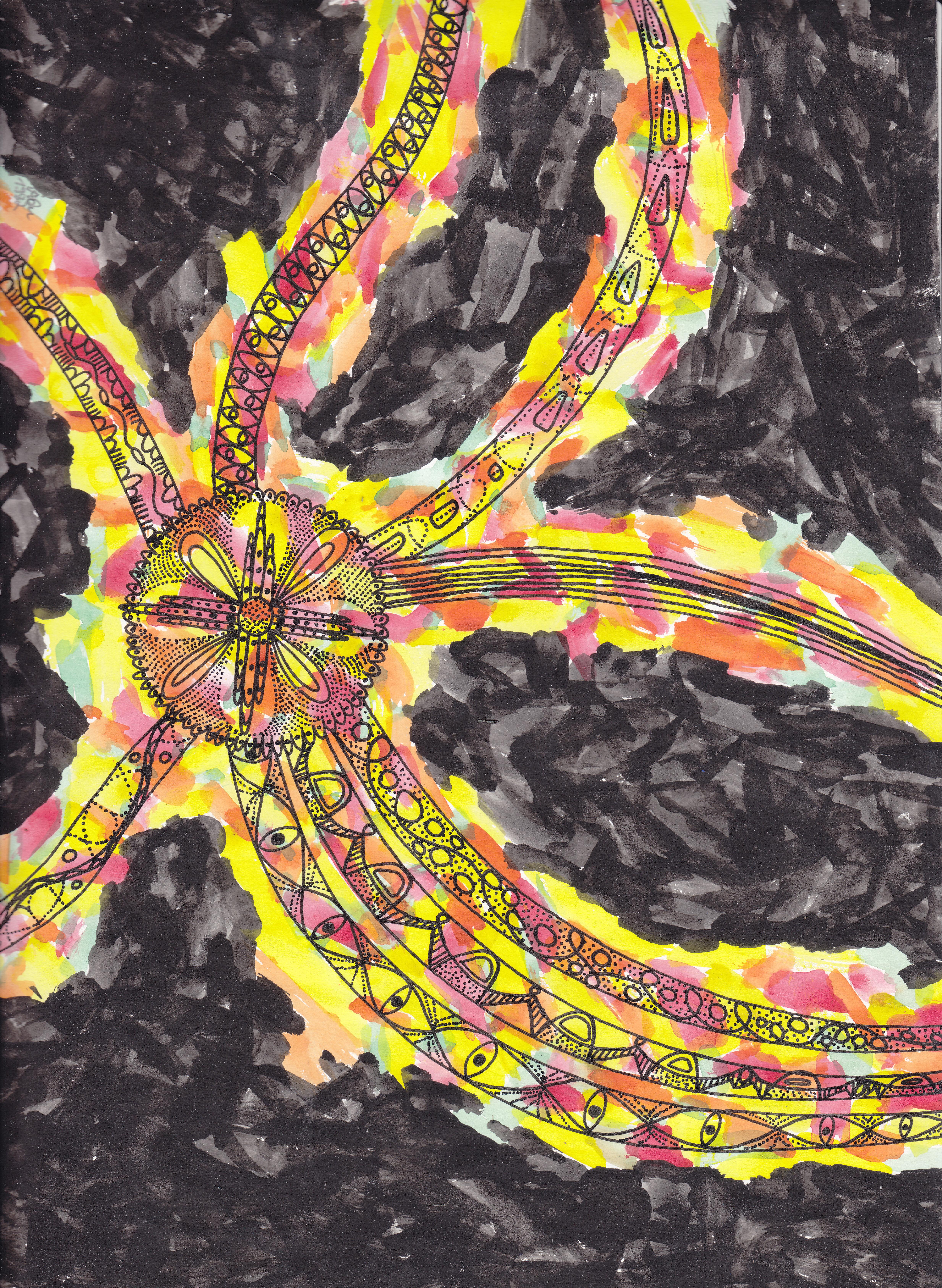 Krakenmuster 2; Tusche, Wasserfarben; 1981; imachd.