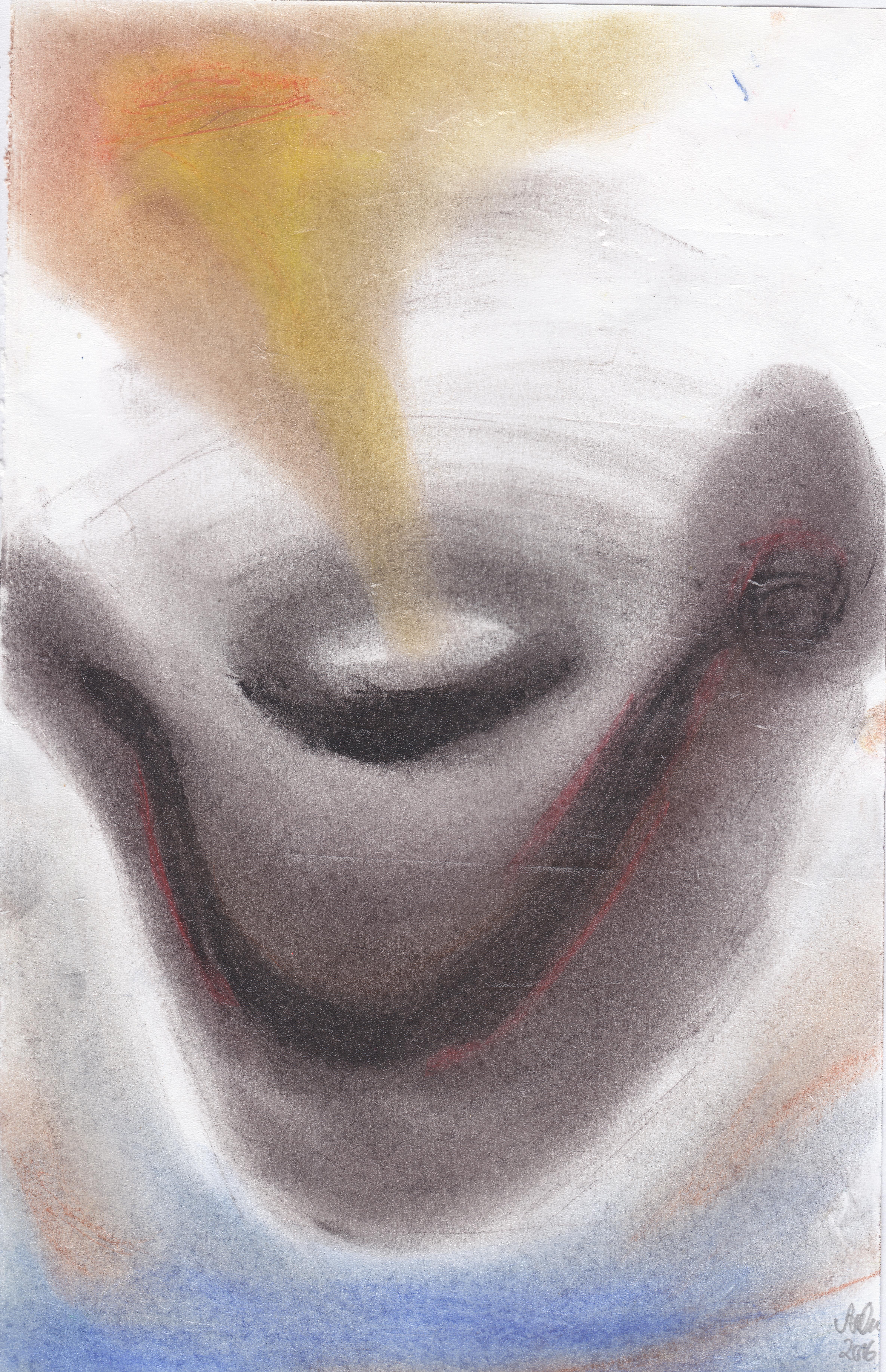 rauchender Vulkan, bunt; 2016; Pastellkreide; imachd.