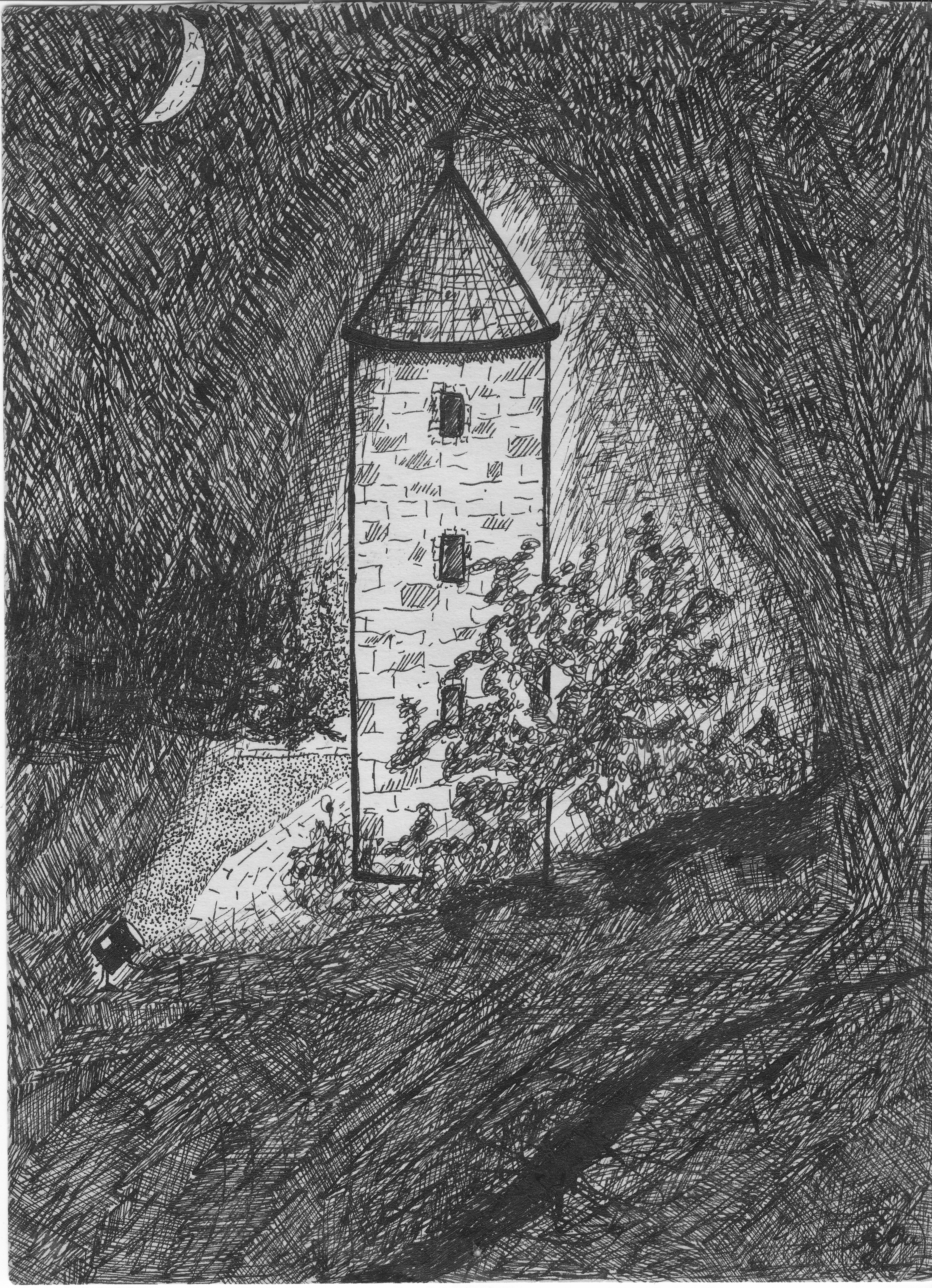 Einsamer Turm; 1983; Tusche;  imachd.