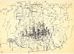 Skyline; Schreibmaschine; auf Originalpapier; 1984; imachd.