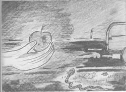 Apfel und Schlange; 1994; Graphit; imachd.