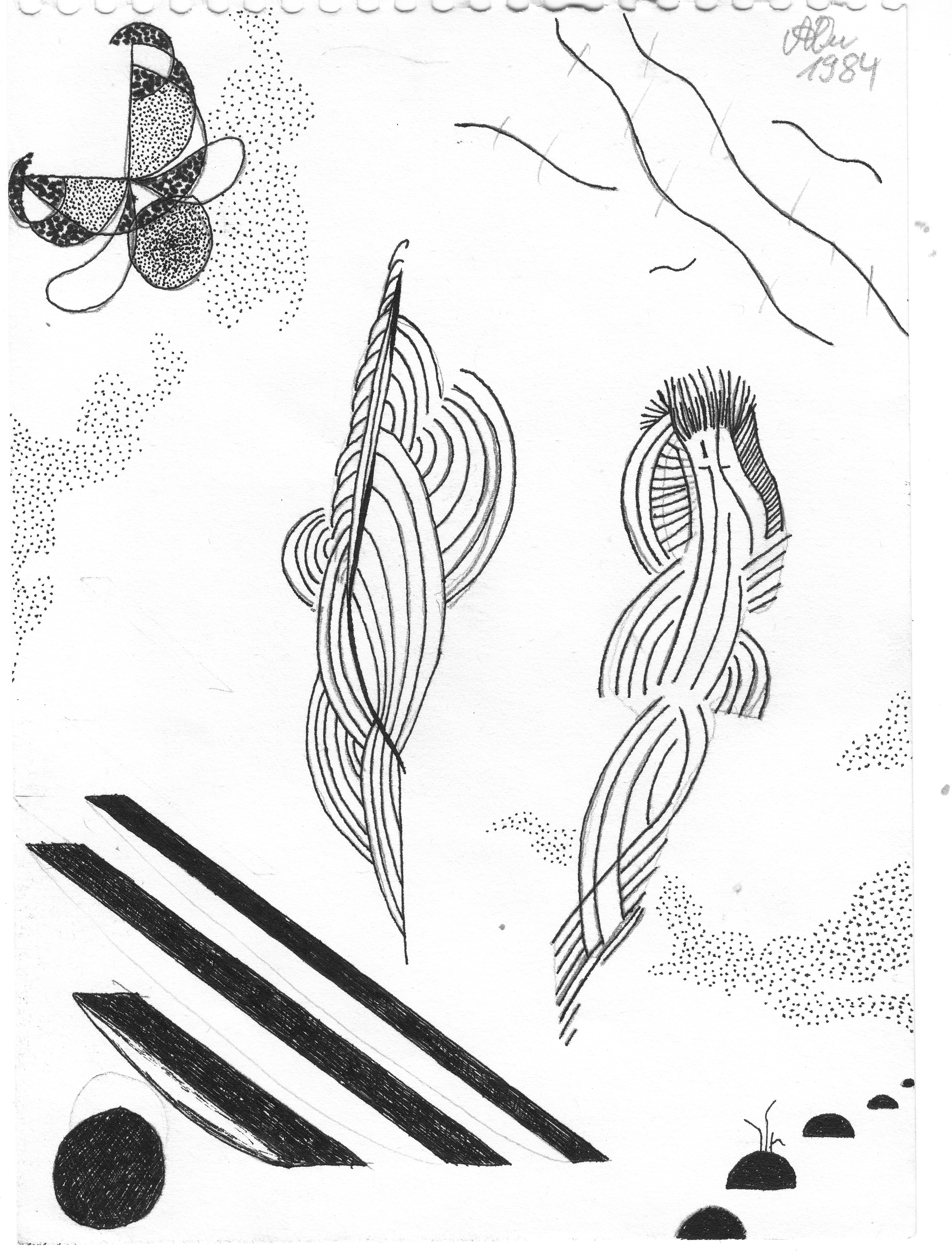 Mode fremder Planeten 2; 1984; Tusche; imachd.