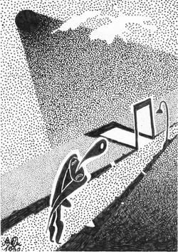 Eckengucker; 1990; Tusche; imachd.