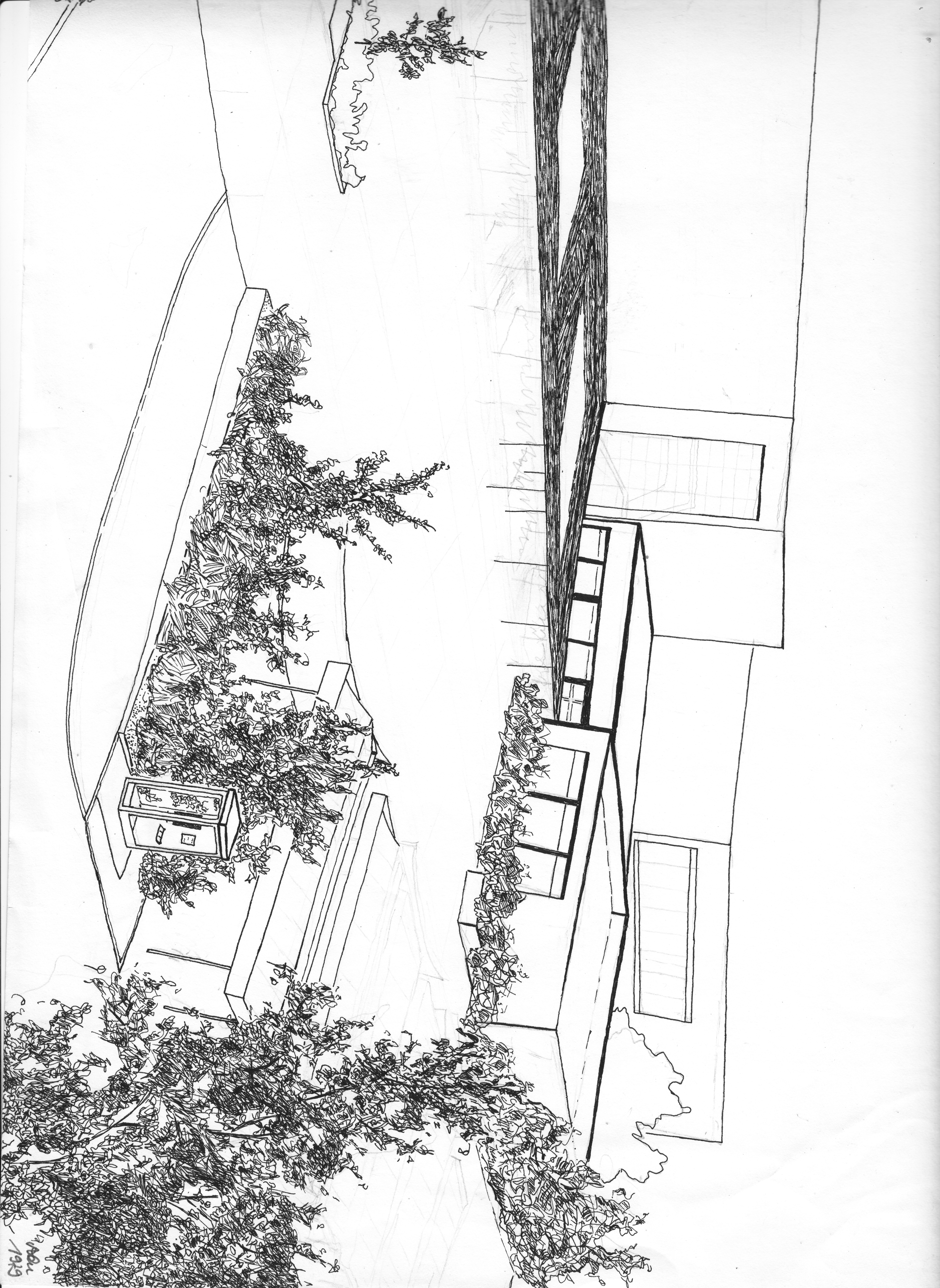 Entwurf Realschule Hiltrup; Tusche; 1979; imachd.