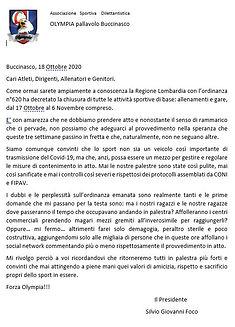 Comunicato del Presidente del 18 10 2020