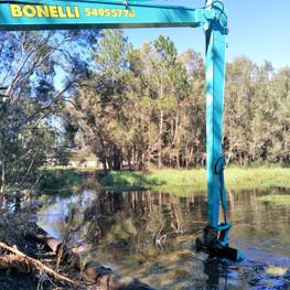 Dam desilting work Bonelli Plant Hire Long Reach Excavator