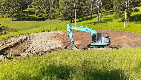 Digging dams with Bonelli PLant Hire Excavator Hire Gold Coast