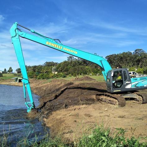 Dam Desilting works Bonelli Plant Hire Long Reach Excavator Hire