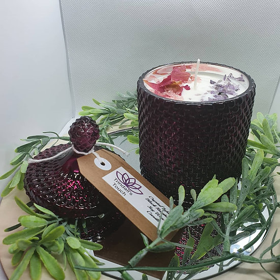 Crystal infused sented candles M/L