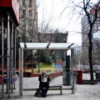 Man Reading at Bus Stop